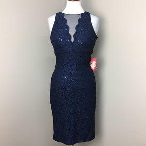 NWT NightWay Navy Sequin Bodycon Formal Dress